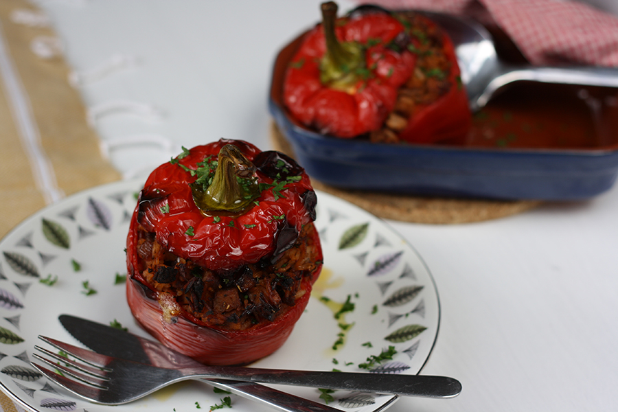 Peppers stuffed with leftover meatballs