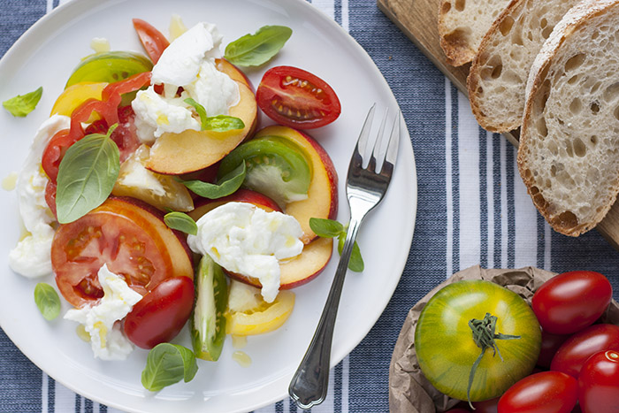 Nectarine and balsamic caprese salad - Singly Scrumptious