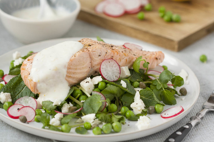 Poached salmon, peas, feta, mint and yogurt dressing