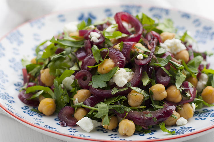 Fresh and tangy salad with herbs, feta and chickpeas