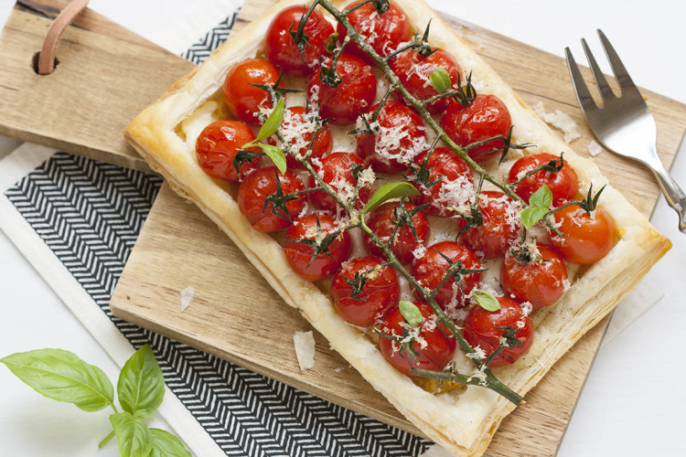 Cherry tomatoes and dijon mustard tart