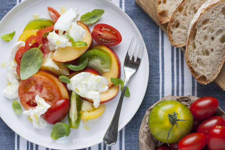 Nectarine and balsamic caprese salad
