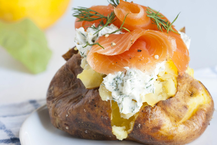 Smoked salmon and mascarpone jacket potato