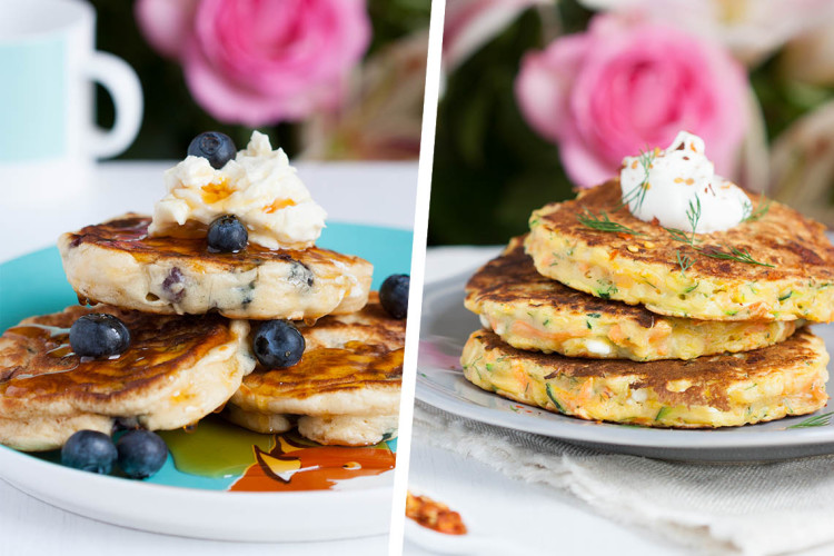 Sweet Blueberry and Savory Courgette Single Serving Pancakes