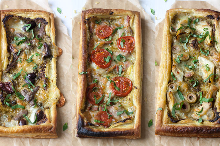 Pesto mozzarella tart three ways
