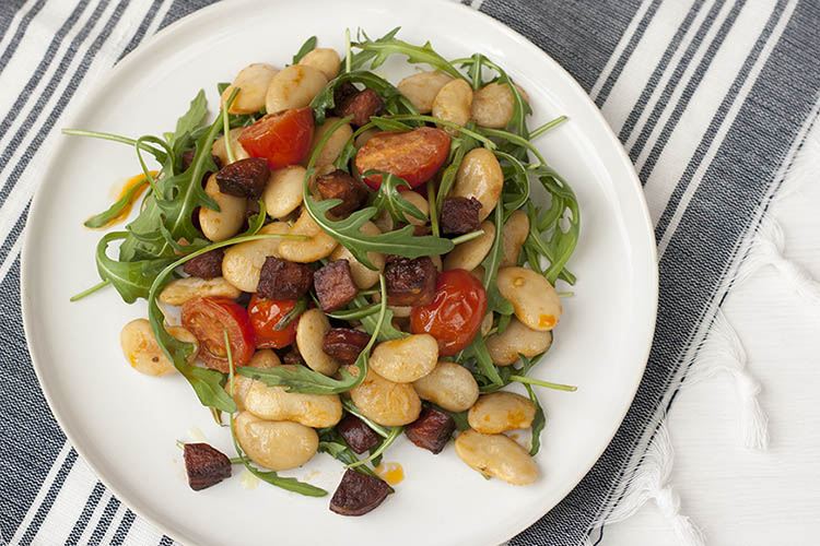 Butter bean, chorizo and rocket salad