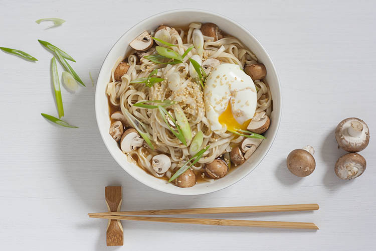 Miso udon, with chestnut mushrooms and soft boiled egg