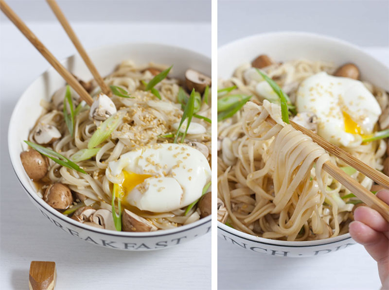 Miso Udon with soft egg, mushrooms and sesame seeds