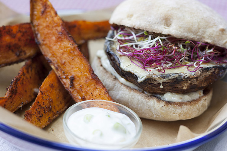 Portobello burger, sweet potato wedges and honey-yogurt dip