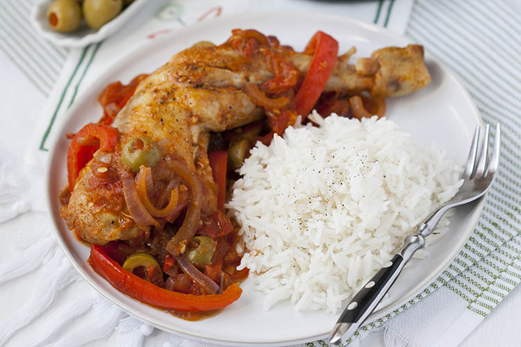 Spanish style chicken with olives and peppers
