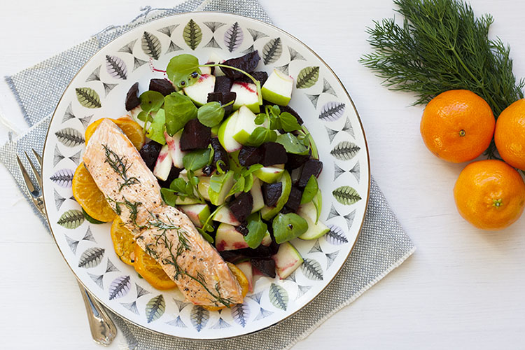 Salmon and clementine en papillote, with balsamic glazed beetroot and granny smith salad.