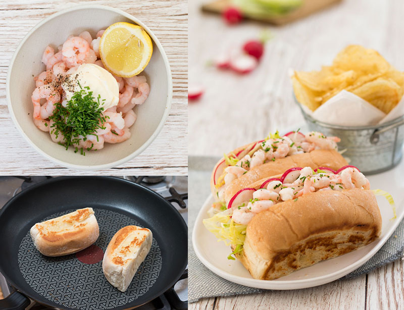 prawn roll, ingredients and dressed