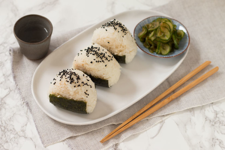Tuna Onigiri with Quick Cucumber Pickle
